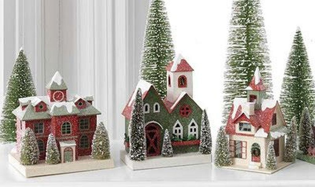 Fabulous Christmas Decoration Ideas For Small House 07 Putz Houses Christmas Village Houses Glitter Houses