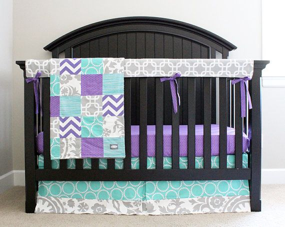 Custom Crib Bedding Purple Teal And Grey Baby By Gigglesixbaby 370 00