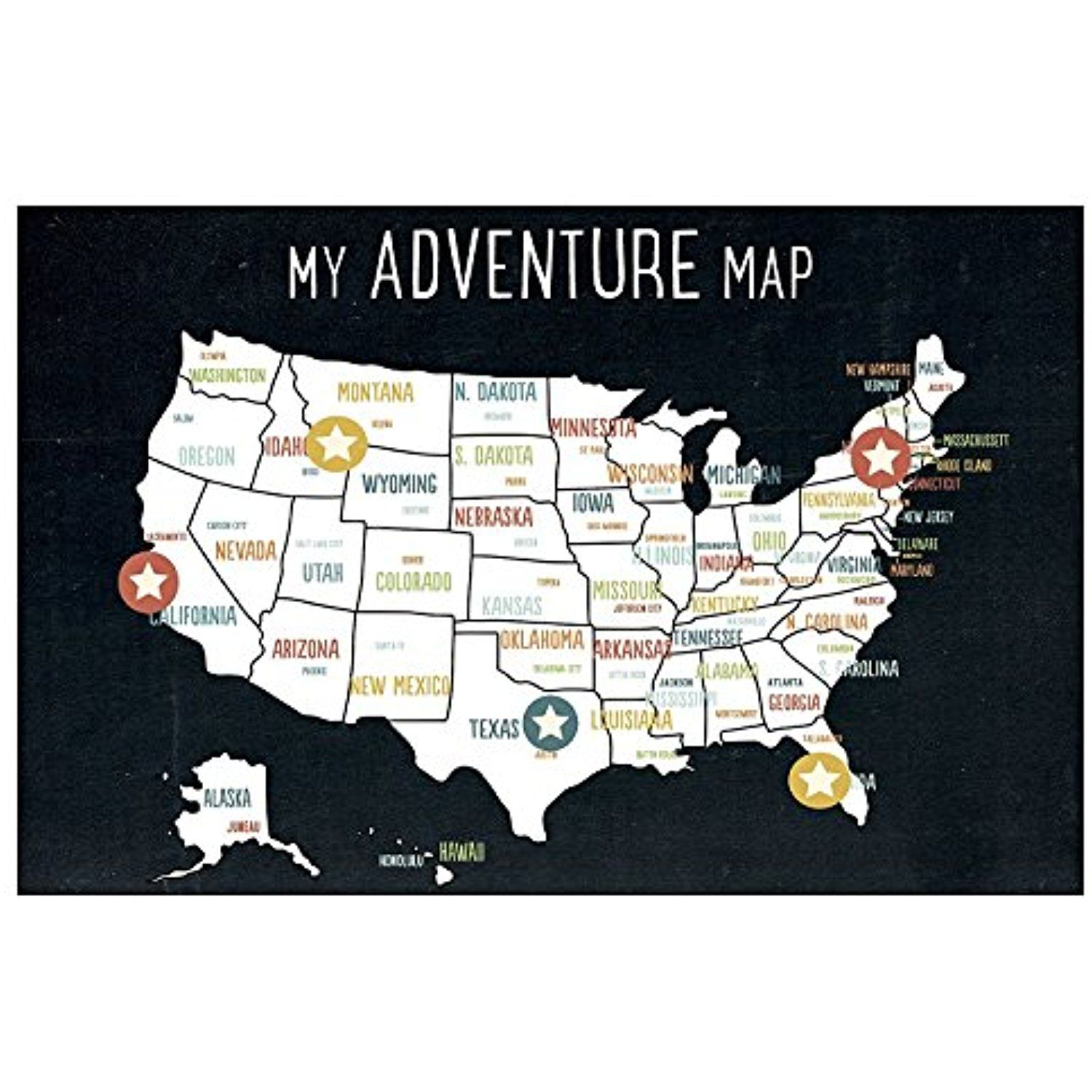 USA Adventure Wall Map Art Print X Inch Canvas Black Kids - Wall map children's room