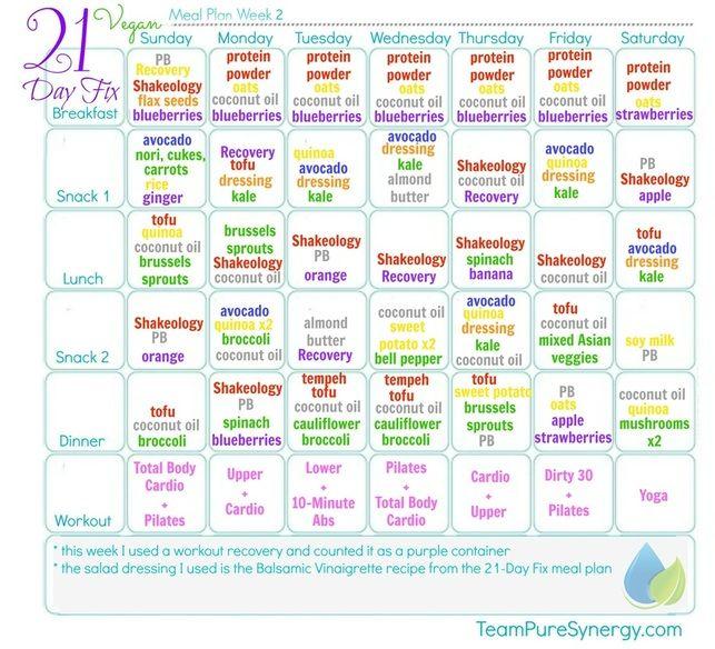 Week 2 vegan 21-Day Fix meal plan #vegan #21dayfix | Vegan Meal ...