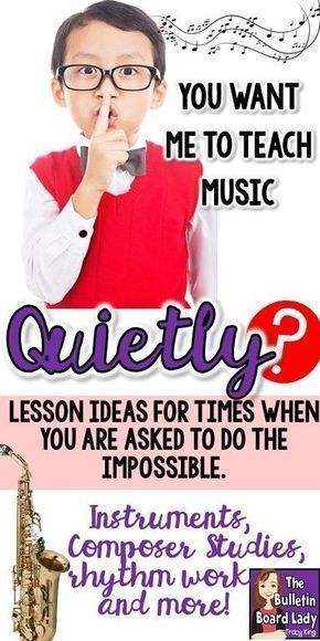 Music Lesson Ideas for Quiet Days is part of Music education, Music lessons, Music education lessons, Music lesson plans, Elementary music class, Music lessons for kids - Music lesson plans for days when you need to be as quiet as possible  These quiet activities include ways to teach pitch, rhythm, composers and more in a quiet music classroom