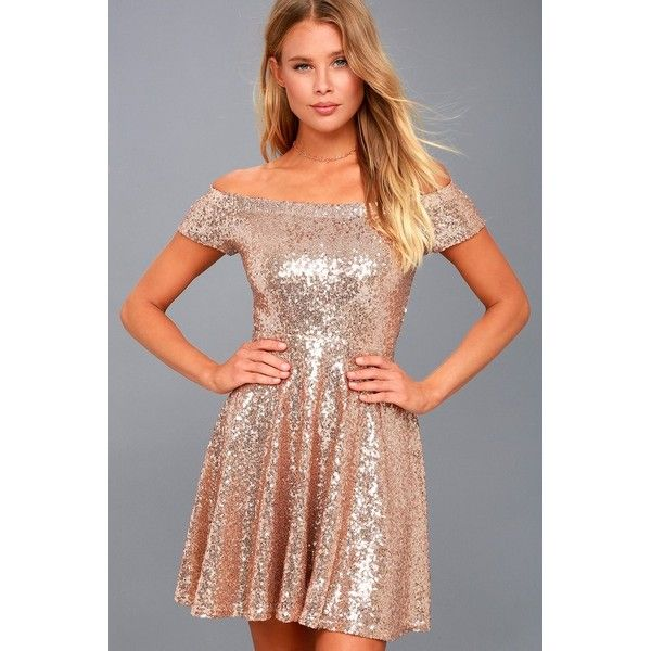 Lulus Dazzle Darling Rose Gold Sequin Off the Shoulder
