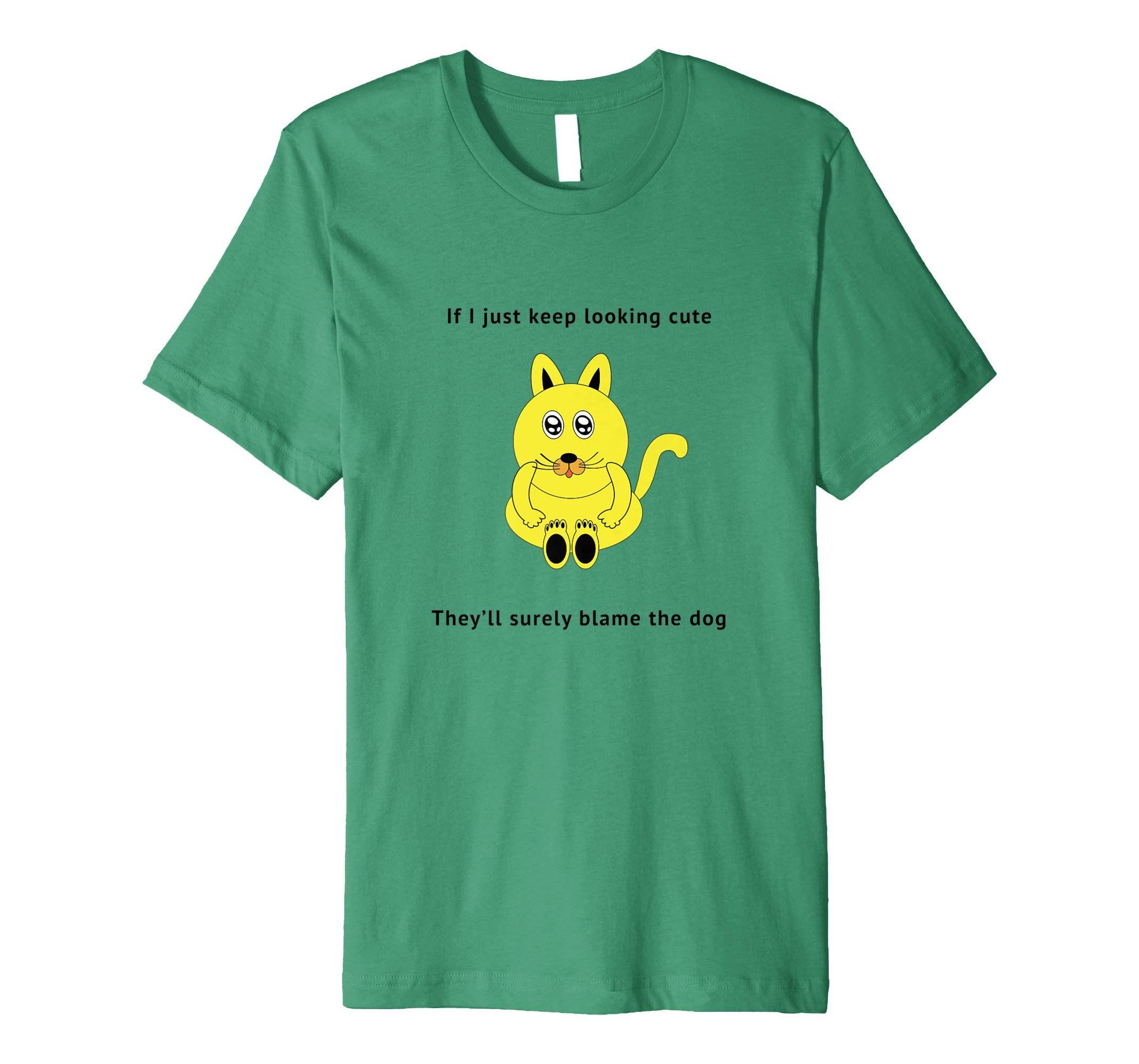 becfa0cd2 Cute yellow cartoon cat with funny cat dog meme T - Shirt: Amazon.co.uk:  Clothing