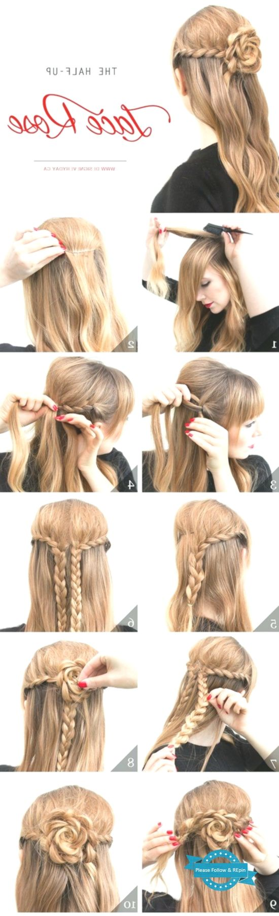 The Half-Up Lace Rose | Easy hairstyles, Hair styles, Diy hairstyles easy