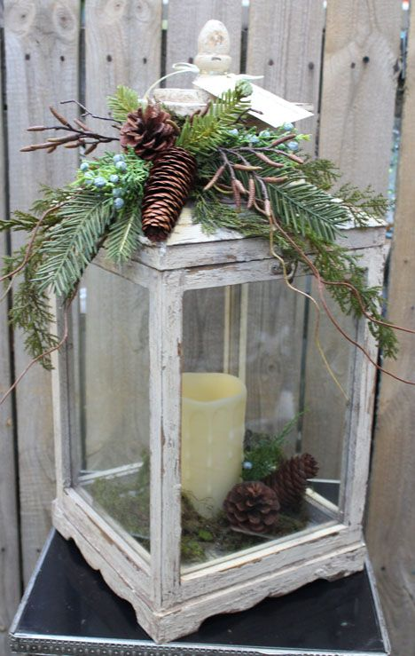 White Lantern With Memory Candle And Winter Greens Decor