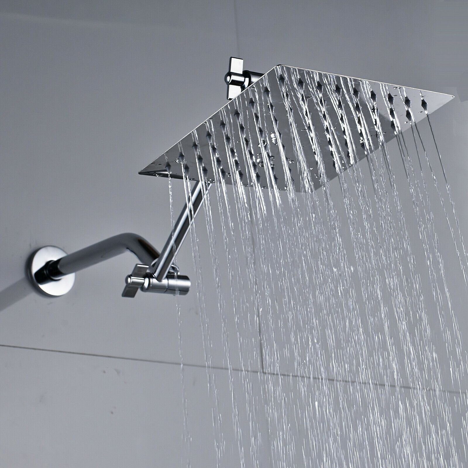 8 Inch Stainless Steel Square Rainfall Shower Head With Extension