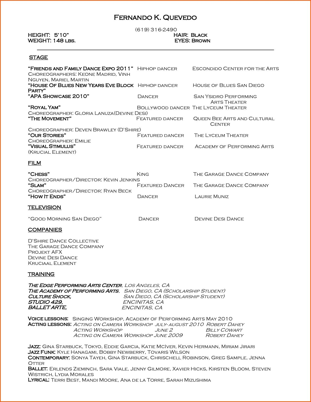 Dance Resume Format Template Design Example Download Pdf Within