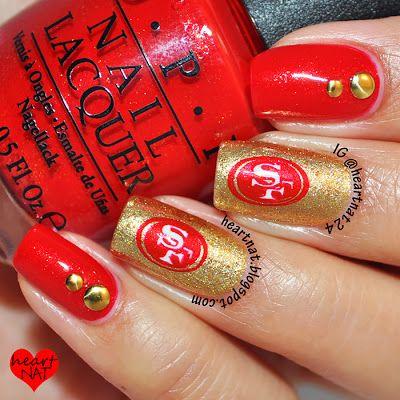 Heartnat San Francisco 49ers Nails 49ers Nails Sports Nails Nfl Nails