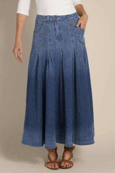 Pleated Denim Skirt Ii - Denim Maxi Skirt, Long A-line Denim Skirt ...