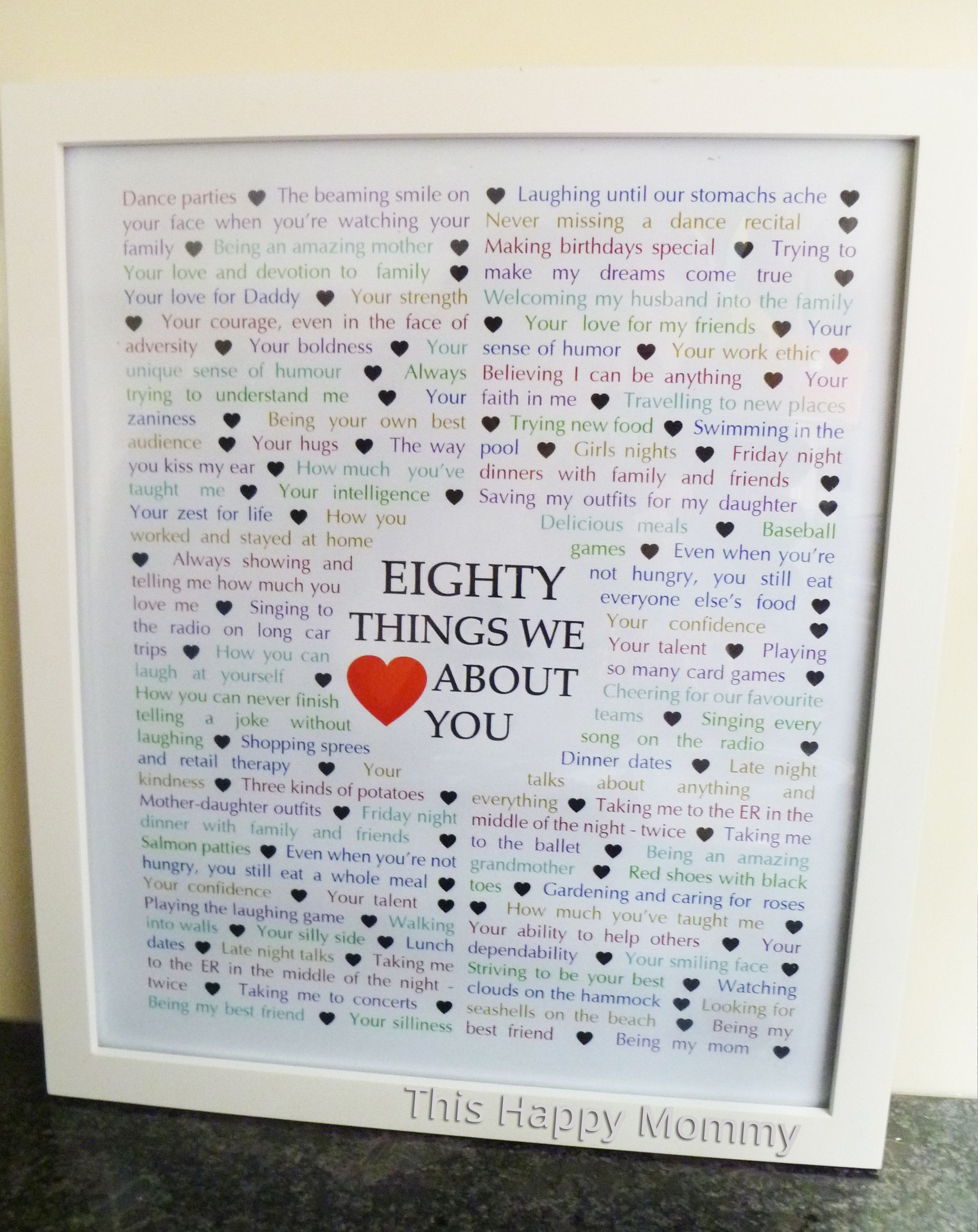 80 Things We About You The Perfect Homemade Gift For A Milestone Birthday 80birthday