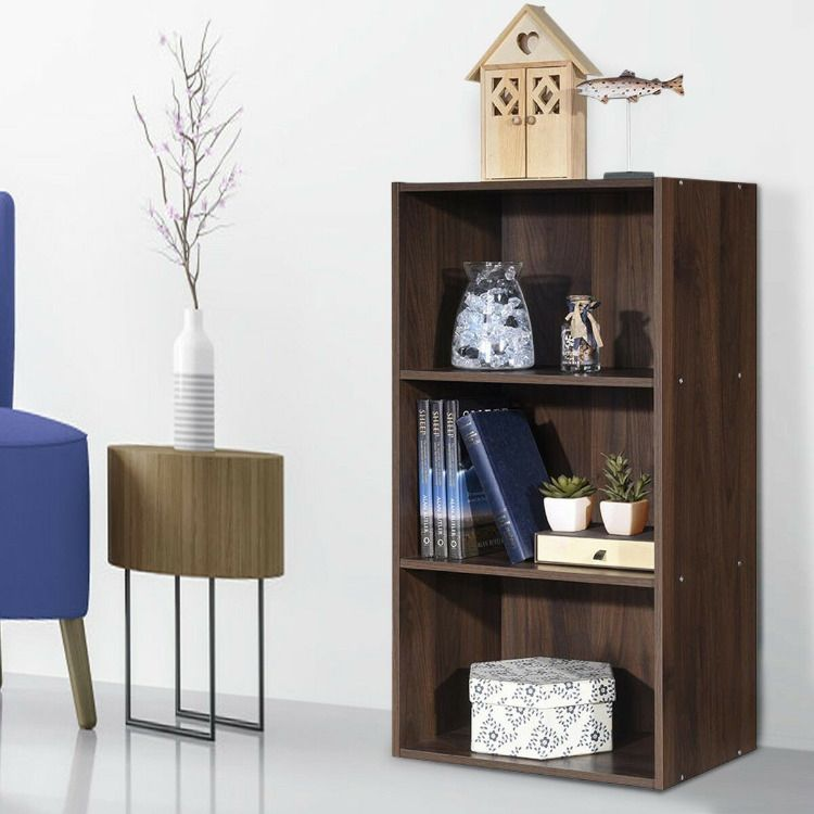 3 Open Shelf Bookcase Modern Storage Display Cabinet Open