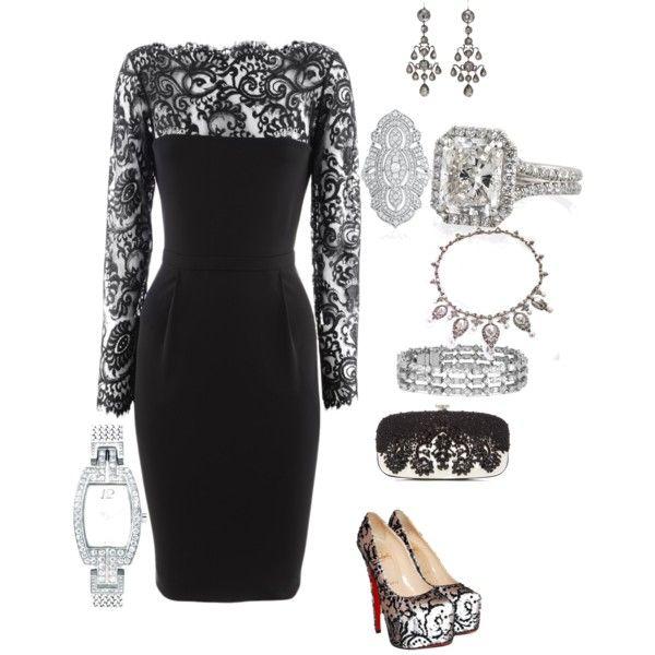Black Lace Cocktail Dress & Vintage Art Deco Antique