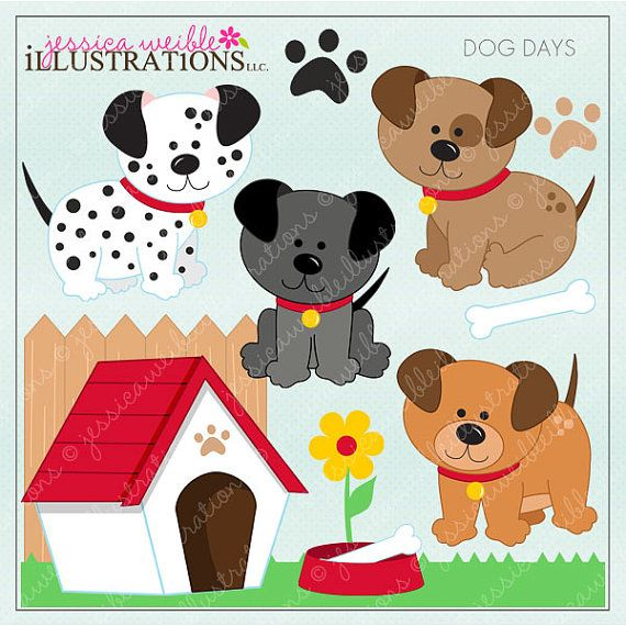 Dog Days Cute Digital Clipart For Invitations Card Design