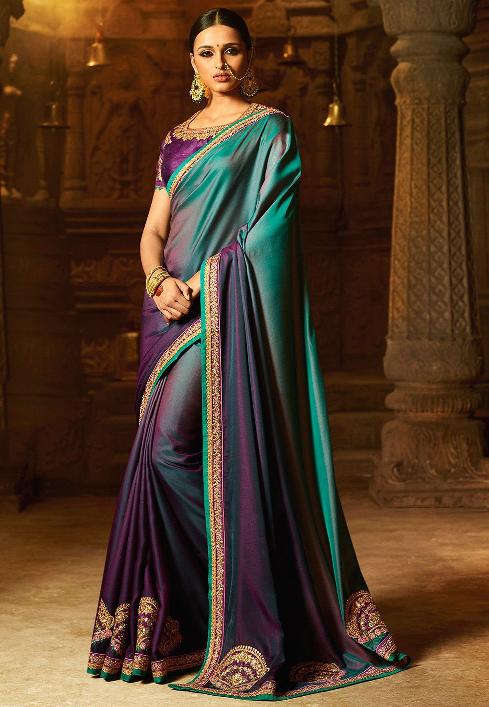 fc7623954058 Buy Ombre Satin Saree in Teal Green and Purple online, Item code: STYA428,  Color: Green, Purple, Occasion: Party, Work: Contemporary, Resham, Stone  Work, ...