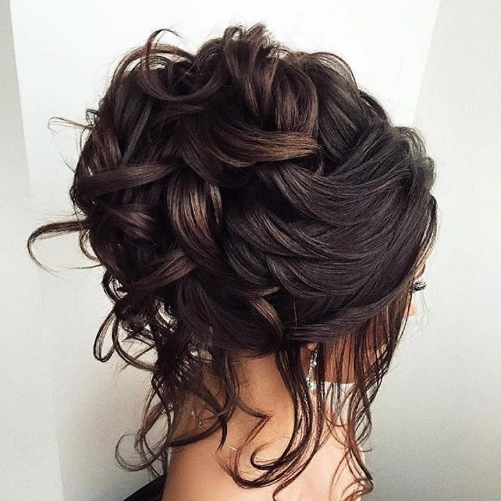Bridal updo loose curls