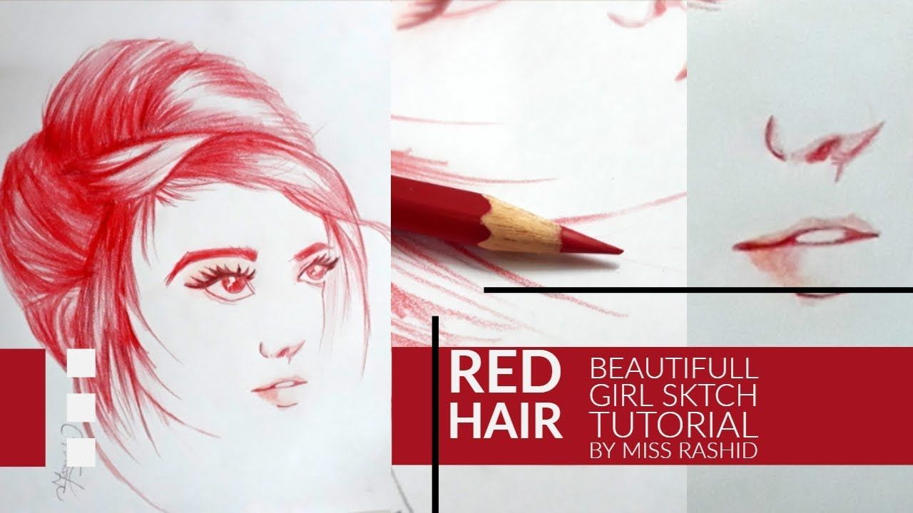 How To Draw Girl Portrait Drawing Sktch With Red Colour Pencil Art By Mi Portrait Drawing Girl Drawing Color Pencil Art