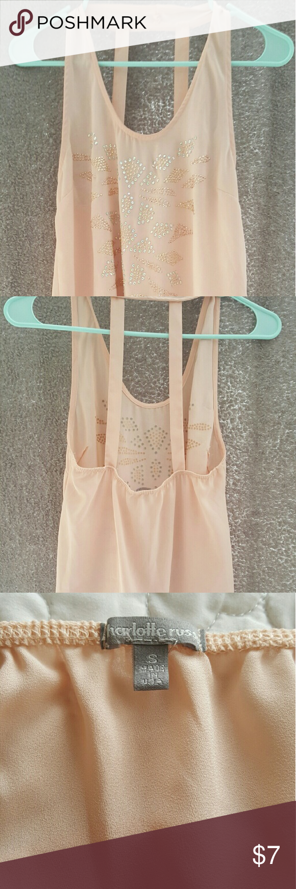 Charlotte Russe tank top Size S Charlotte Russe top 100%polyester.  Cute and very comfortable. Great details. Great color. Charlotte Russe Tops Tank Tops