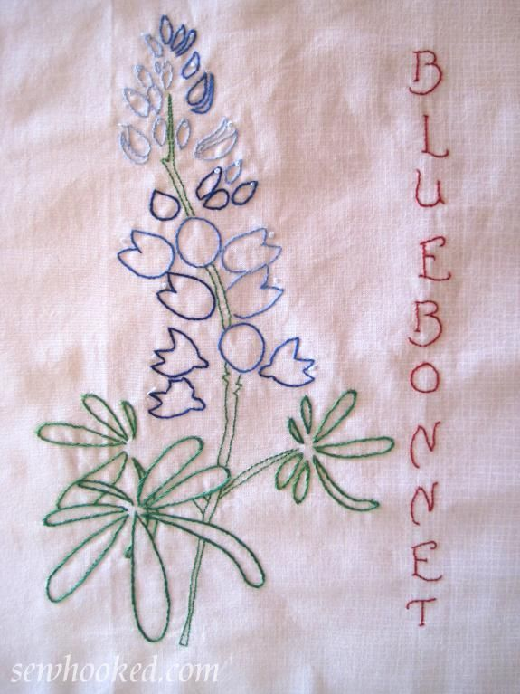 Name embroidery bluebonnet to hand embroider