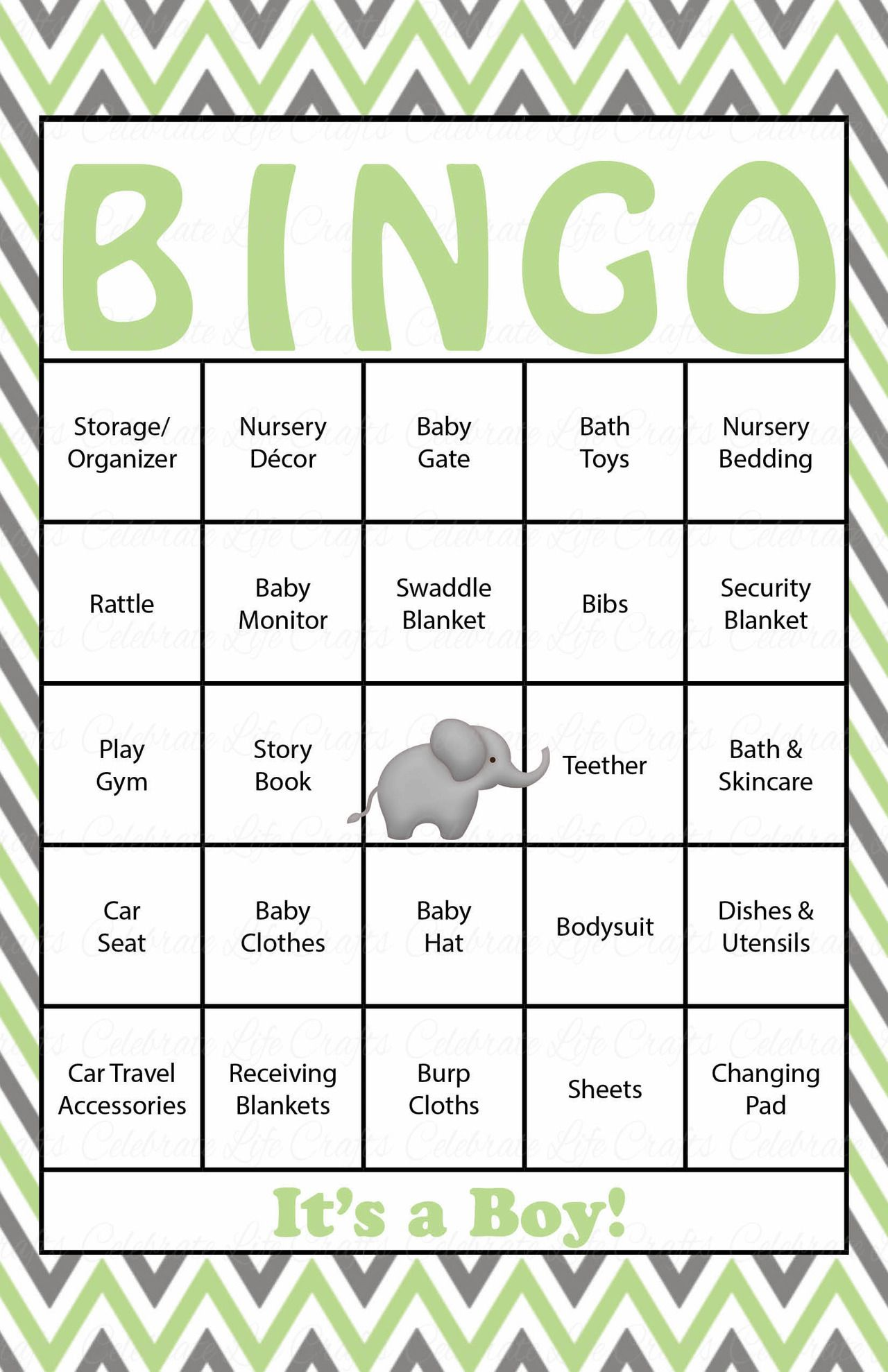30 Elephant Baby Shower Bingo Cards