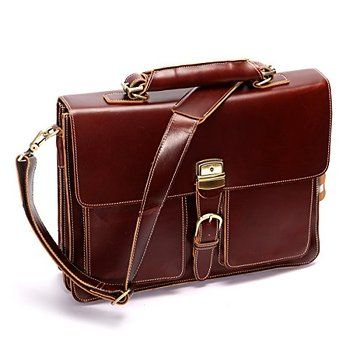 Leathario Mens Genuine Leather Briefcase Laptop Tote Bags Business Office Bag