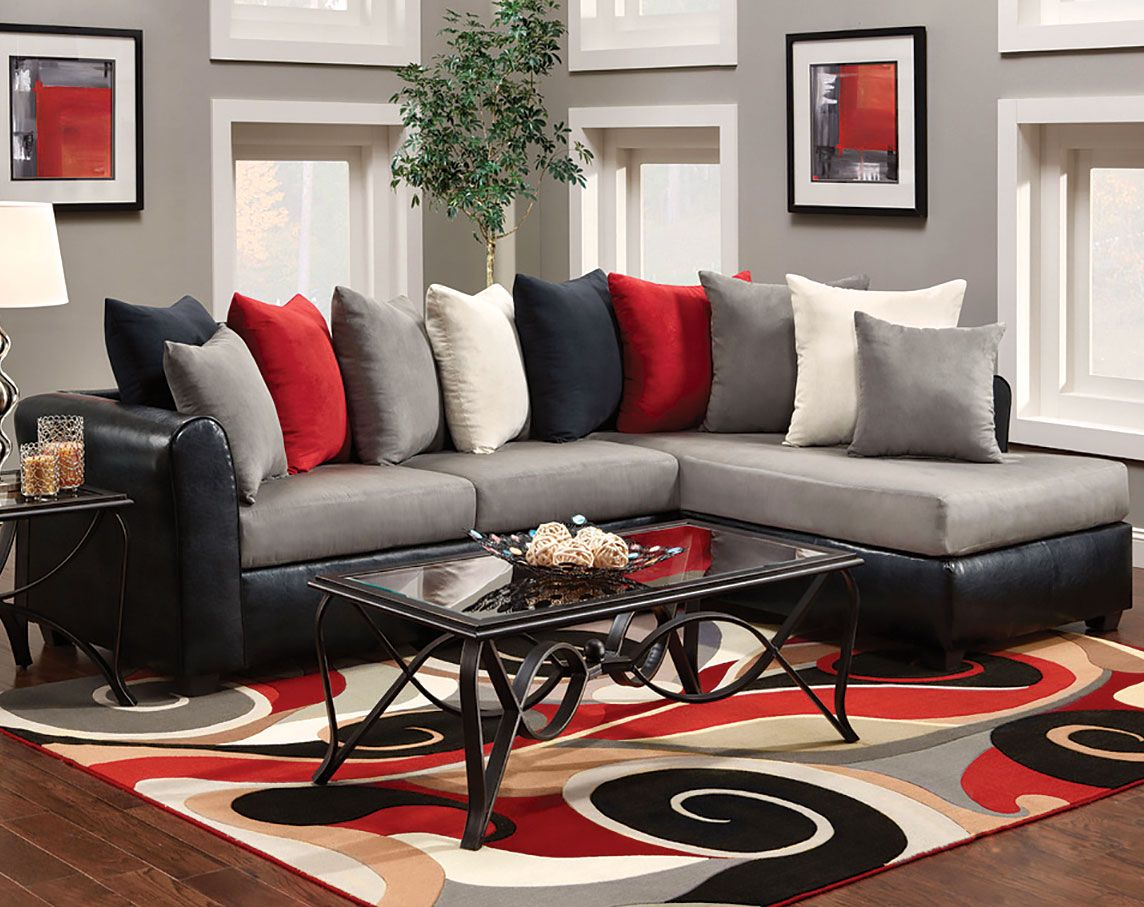 Grey couch living room red google search apartment pinterest living room room and for Black red and grey living room