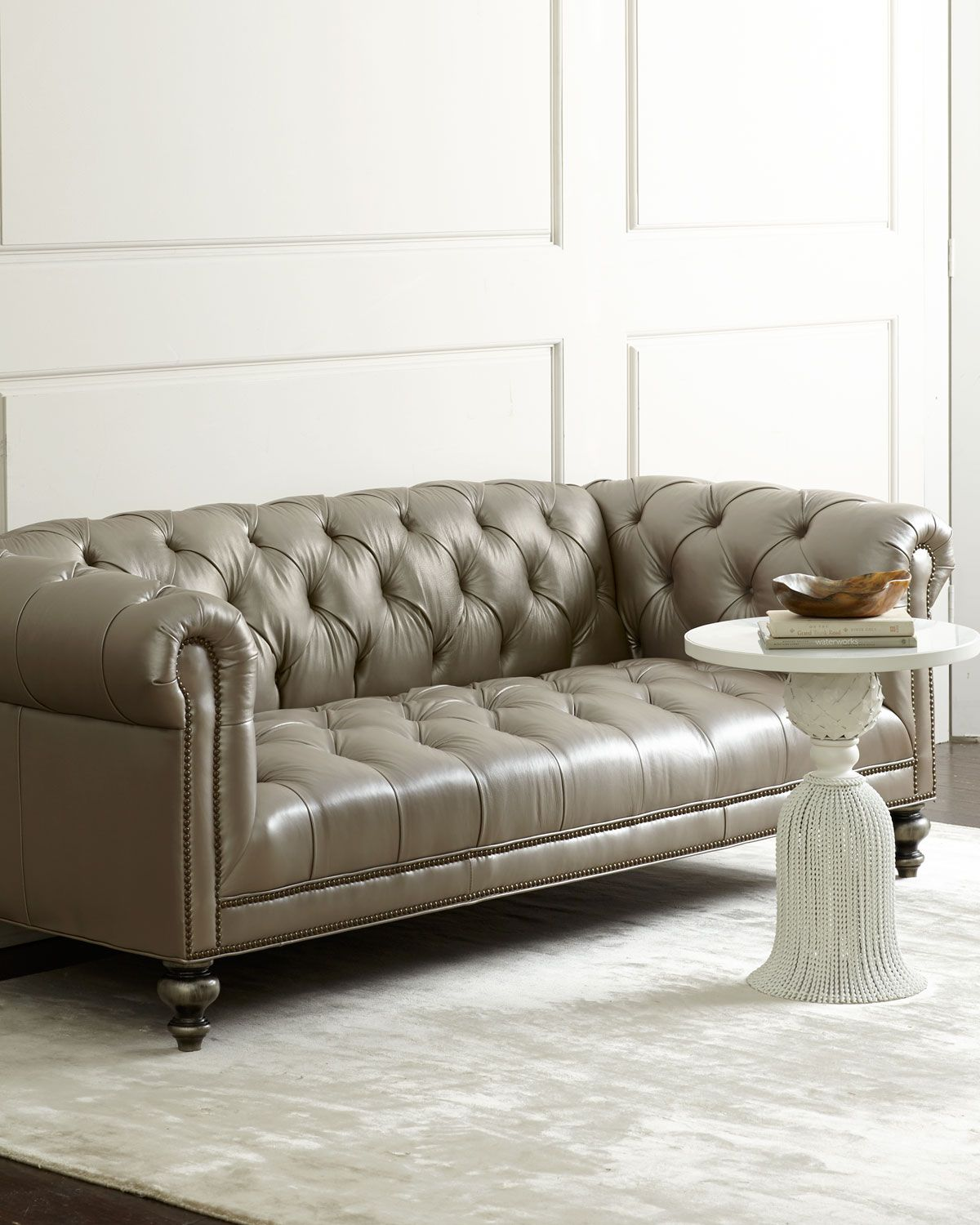 Old Hickory Tannery Lenoir Yellow Sofa: Morgan Gray Tufted Leather Sofa, Grey