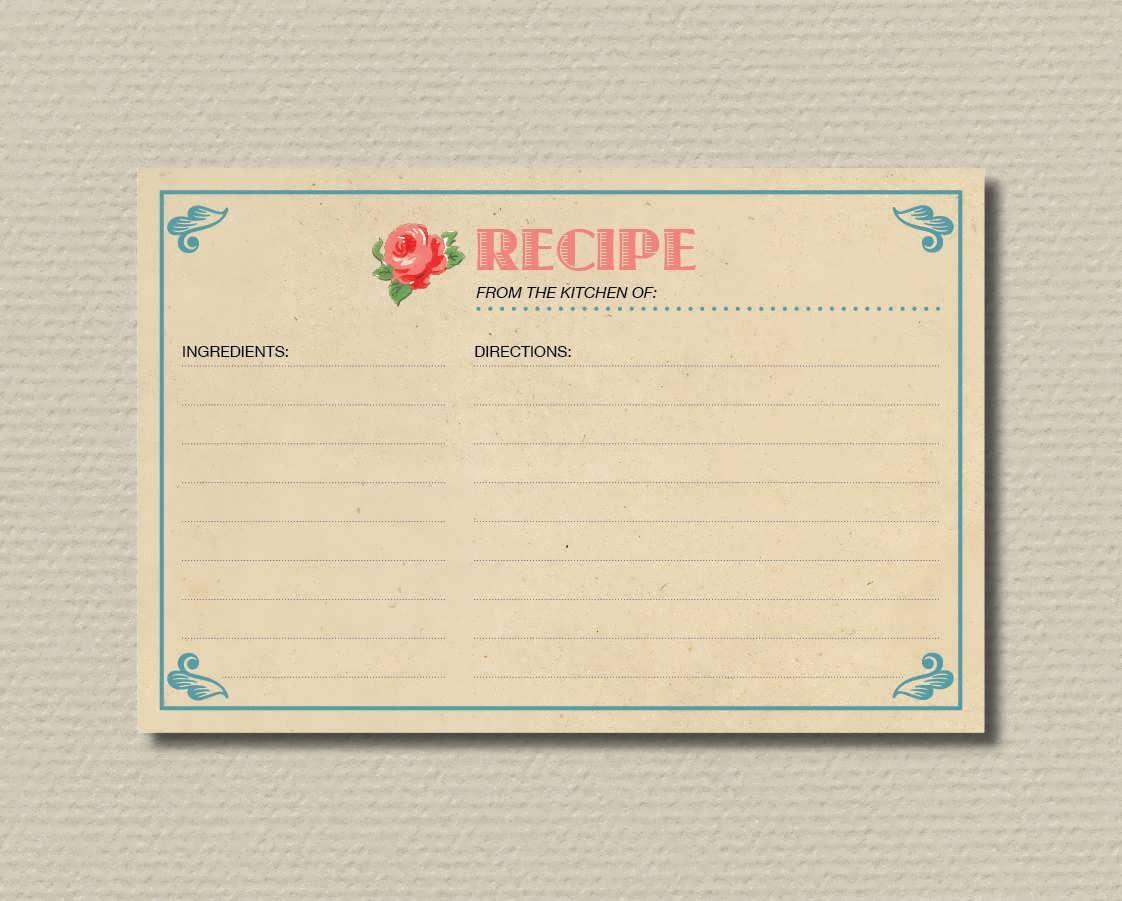 Bridal Shower Recipe Cards Wedding