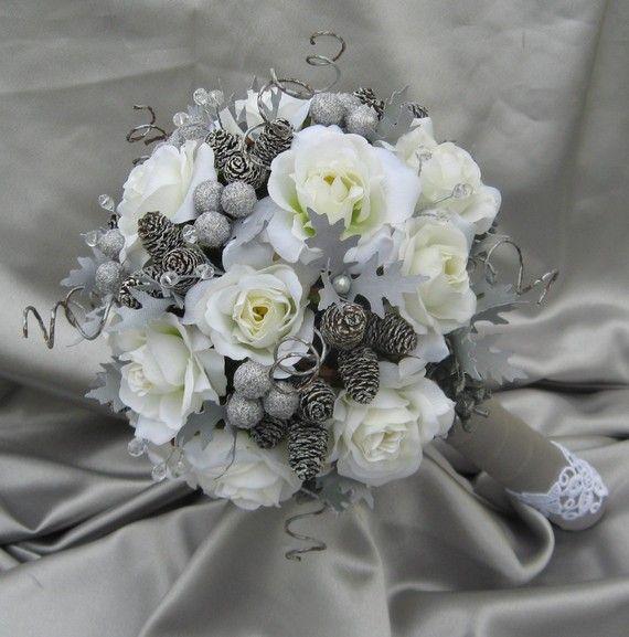 Winter Wedding Flowers Ideas: Large LUXURY Winter WONDERLAND Bridal Bouquet By
