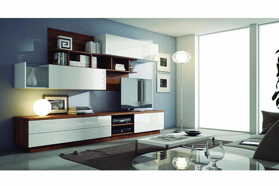 Composici n de 2 80 m acabado en color nogal blanco y frentes blancos lacados conjunto - Muebles en yuncos ...