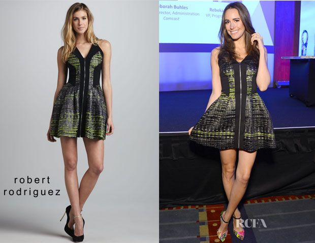 Louise Roe S Robert Rodriguez Jacquard Solid Accent Dress