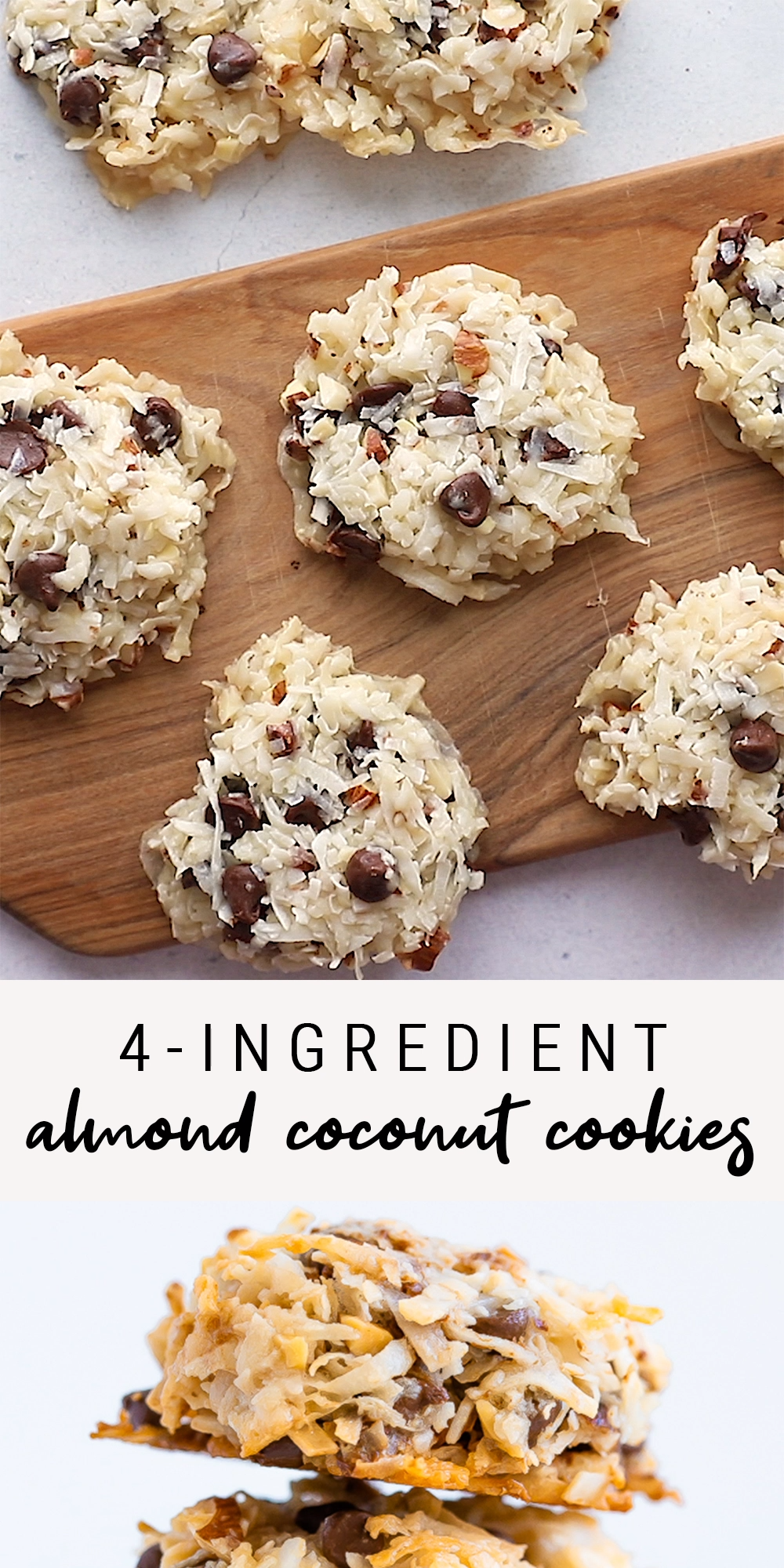 4- Ingredient Almond Coconut Cookies | Vegan + Glu