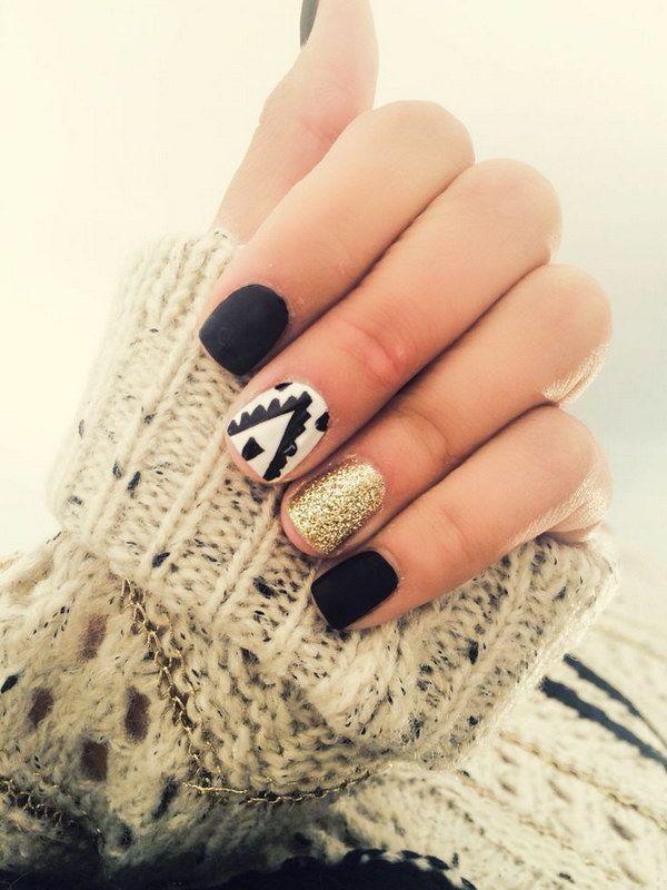80+ Black And White Nail Designs   Pinterest   White nails, Gold ...