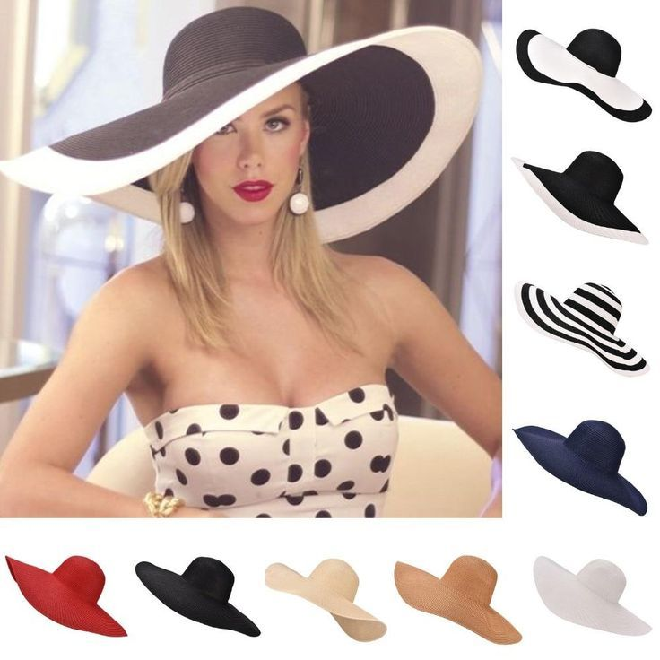 Huge Brim Sun Hats 7.1''/18cm Paper Straw Summer Hats for Womens Ladies UV Protect Floppy Beach Hats Kentucky Derby Party Dress - Hats& caps2019 -
