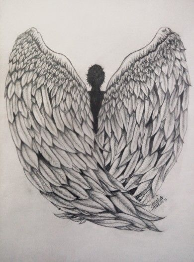 My pencil drawing of angel wings