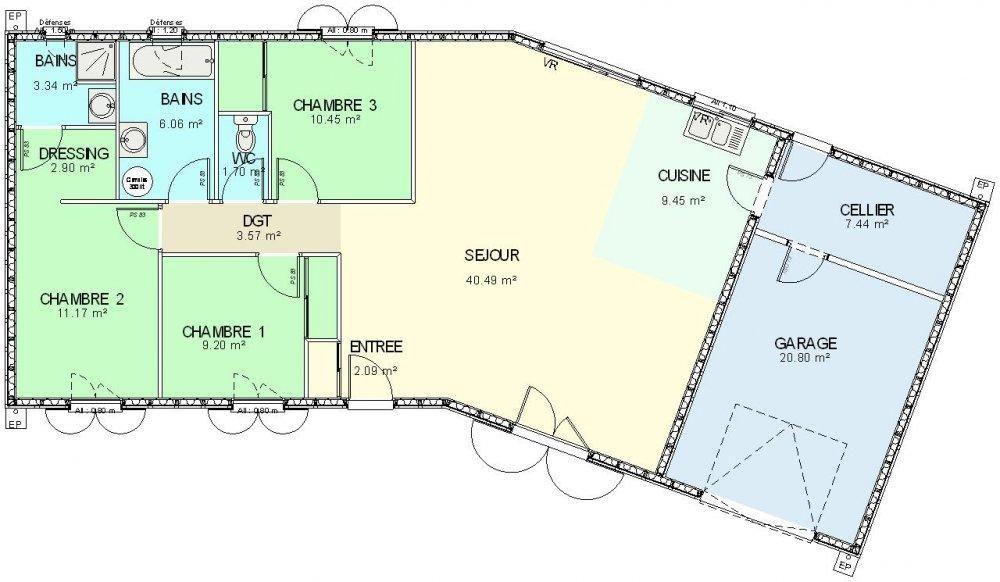 Plan Maison Ossature Bois Plain Pied  Chambres Maison Modernes