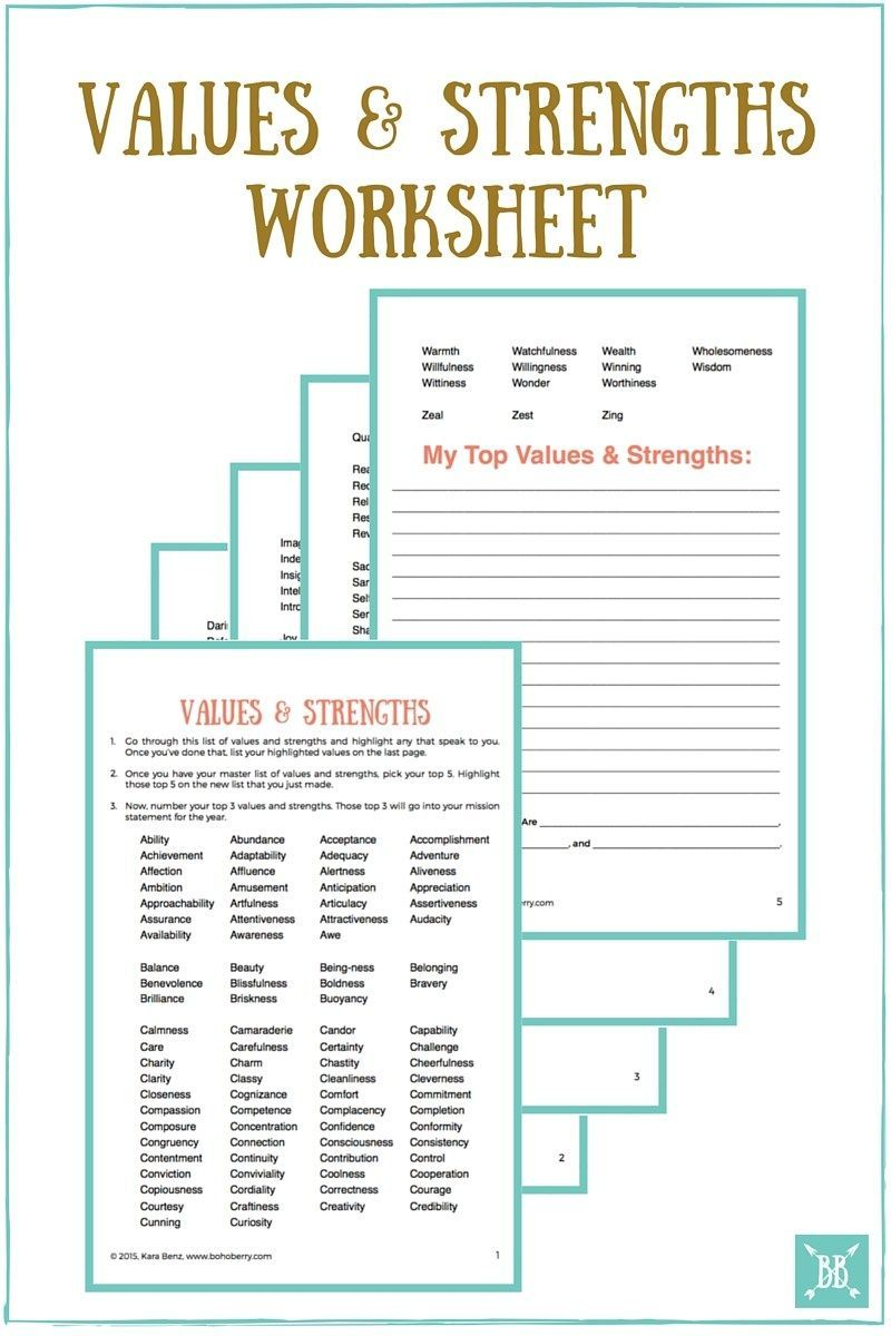 Values and Strengths Worksheet Personal mission