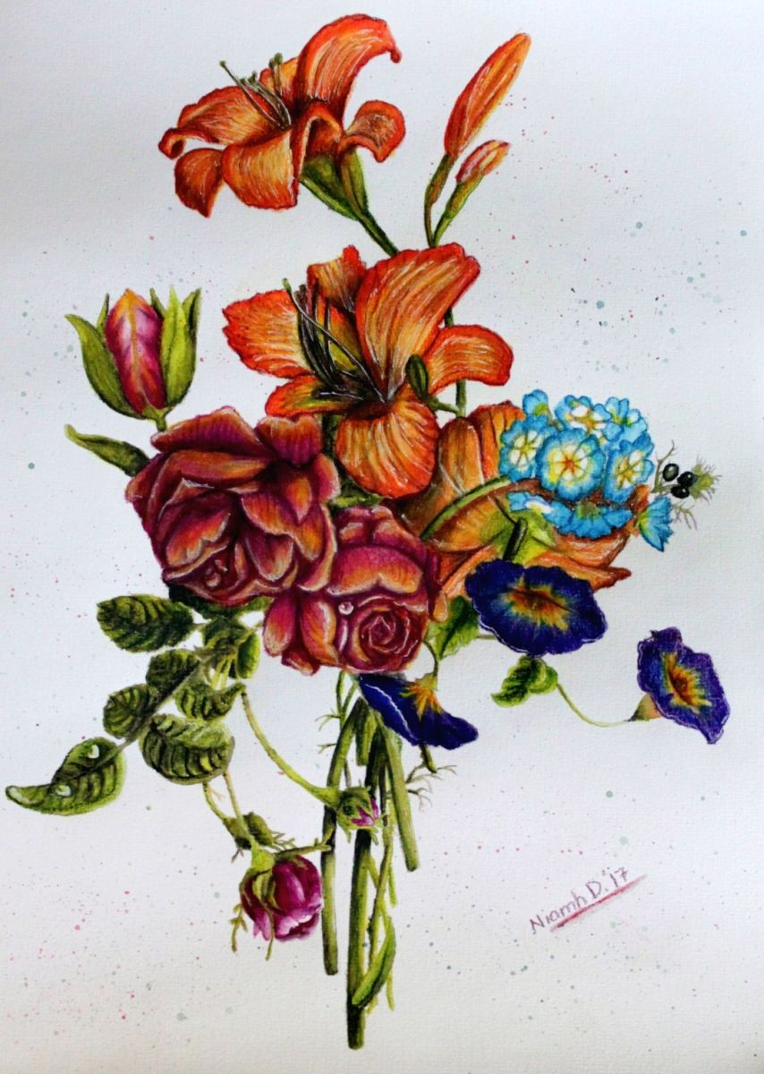 Completed Colouring Page From Pepin Press Artists Colouring Book Still Life Bouquets Https Www Youtube Com Watch V E Coloring Books Art Watercolor And Ink