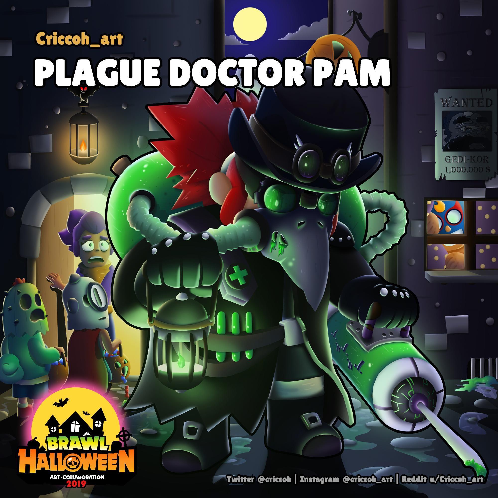 Brawl Halloween Plague Doctor Pam By U Criccoh Art Brawl Stars Star Wallpaper