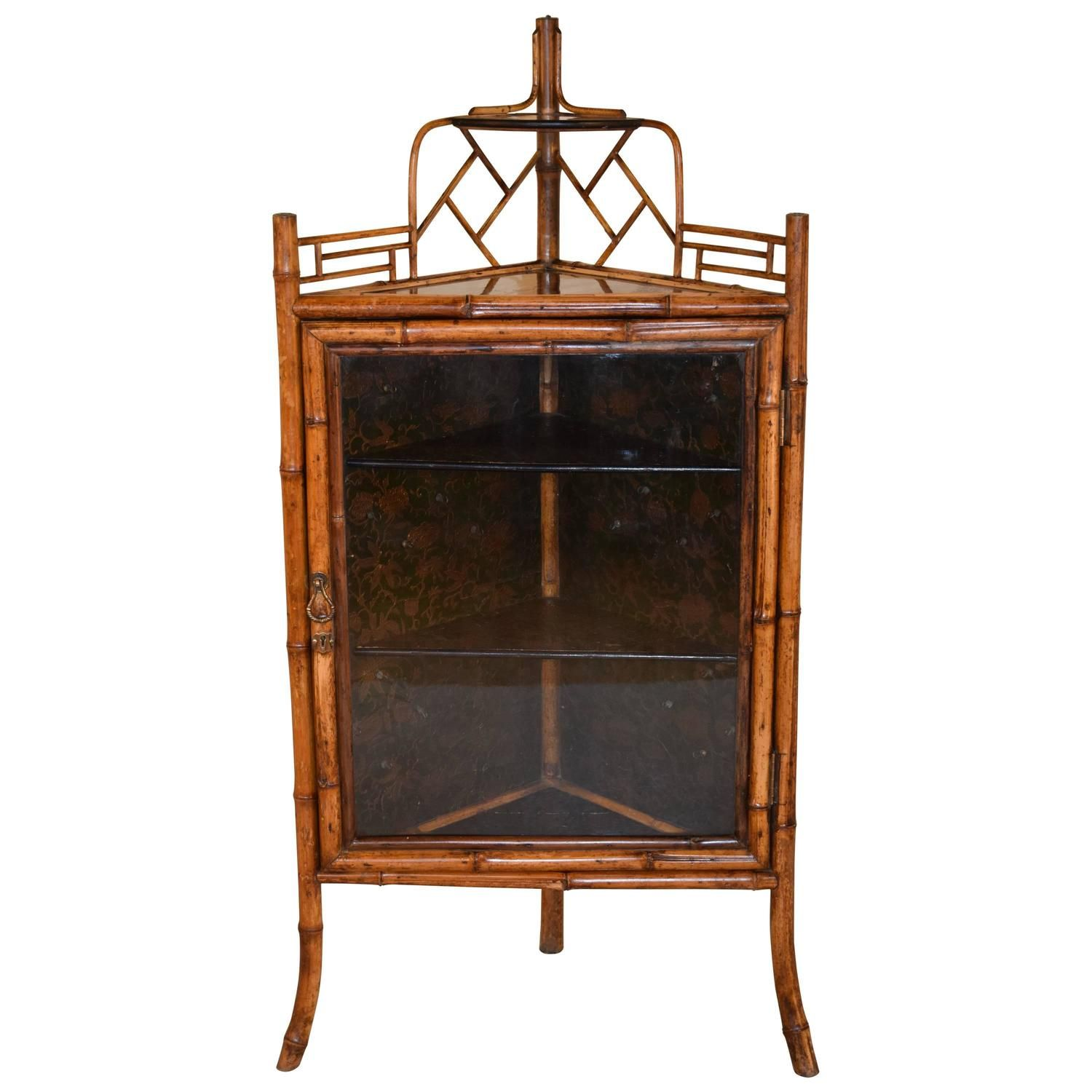 19th Century French Bamboo Corner Cabinet For Sale at 1stdibs