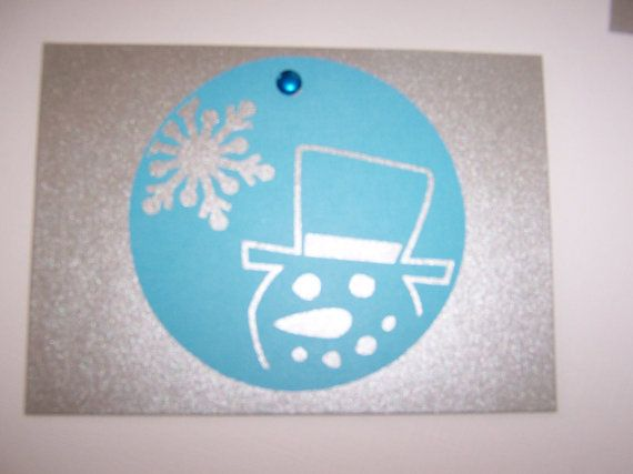 Silver Christmas Card with Cutout Snowman and by Scrappin2some