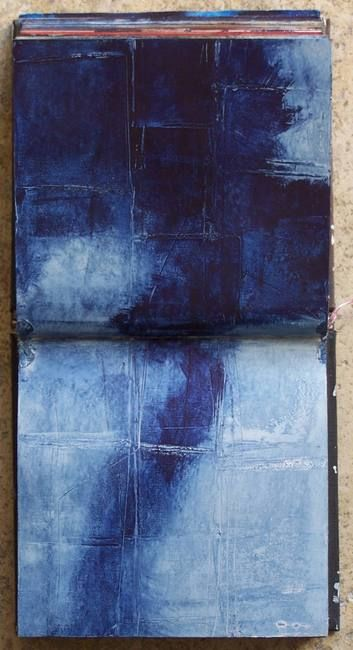 """""""I'm searching"""", blue pigments Sketchbook page by Elizabeth Couloigner"""