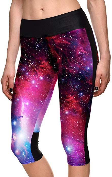 3ca8ab5a936fe6 Hoyou Women's Plus Size Fitted High Waist Workout Cropped Pants - Galaxy  Print Capri Leggings With Pockets(Galaxy, M) at Amazon Women's Clothing  store: