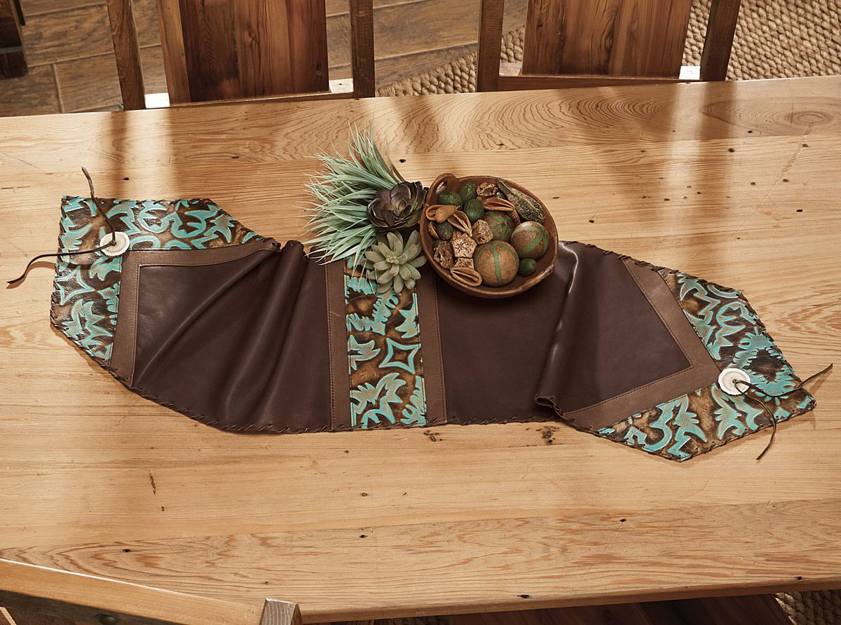 Turquoise U0026 Brown Medallion Leather Table Runner   12 ...