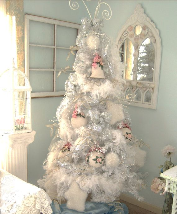 I Added White Feather Boas To The Artifical Tree Shabby Chic Christmas Tree Shabby Chic Christmas Decorations Christmas Tree Decorations