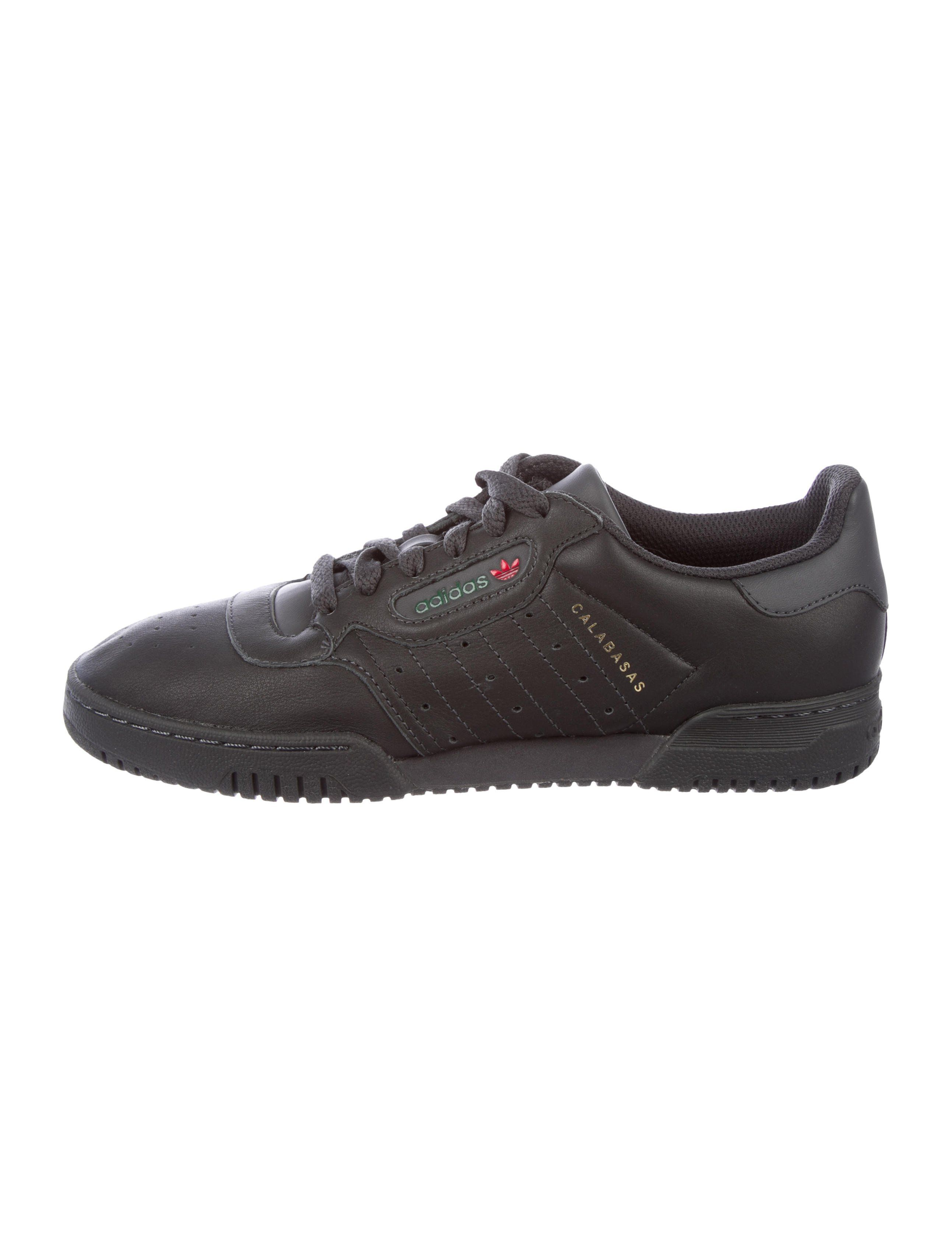 5af73b0cd91fd Men s Core Black leather Adidas Yeezy Powerphase Calabasas round-toe  low-top sneakers with perforated accents