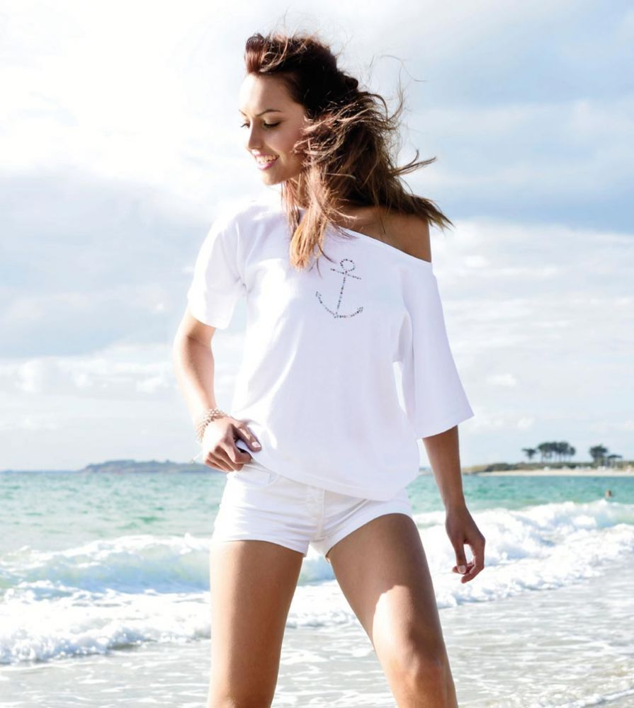 Ladies' White Cotton Knit Top with Anchor WANT!! | My Style ...