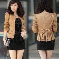 New fashion korea design women double-breasted slim  OL suits lady puff sleeve cotton jacket lady outerwear