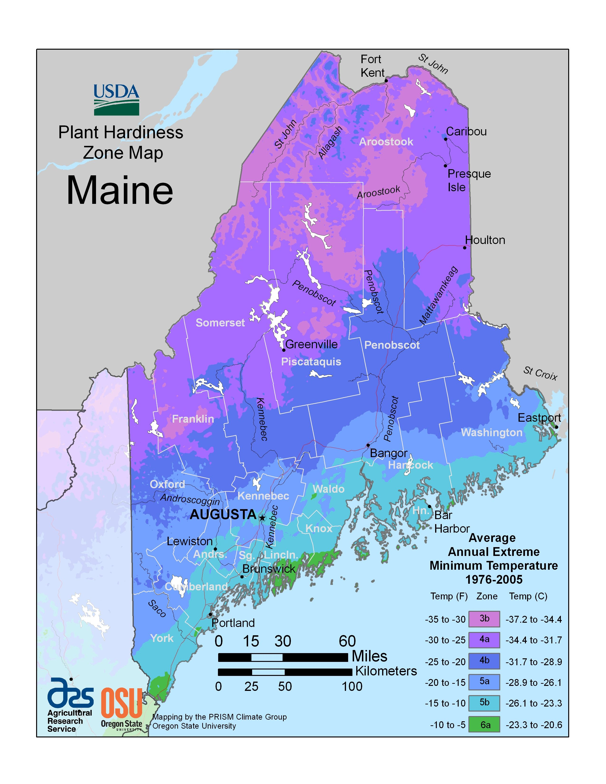 Plant Hardiness Zone Map Of Maine