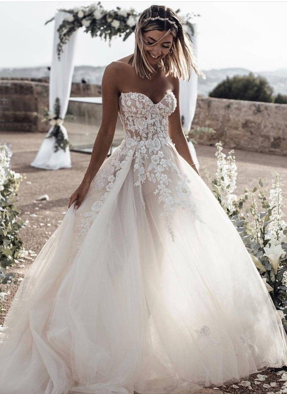 A-Line Sweetheart Sleeveless Sweep Train Tulle Wedding Dress with ...