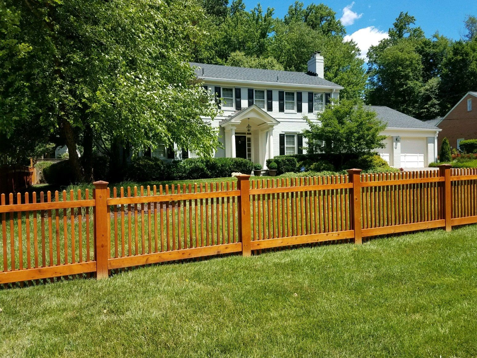 Stained Wood Poolesville Picket Fence In 2019 Patio Fence